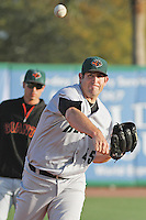 Augusta GreenJackets pitcher Daniel Slania #45 on the mound in the bullpen during a game against the Charleston RiverDogs at Joseph P. Riley Jr. Ballpark on April 13, 2014 in Charleston, South Carolina. Augusta defeated Charleston 2-1. (Robert Gurganus/Four Seam Images)