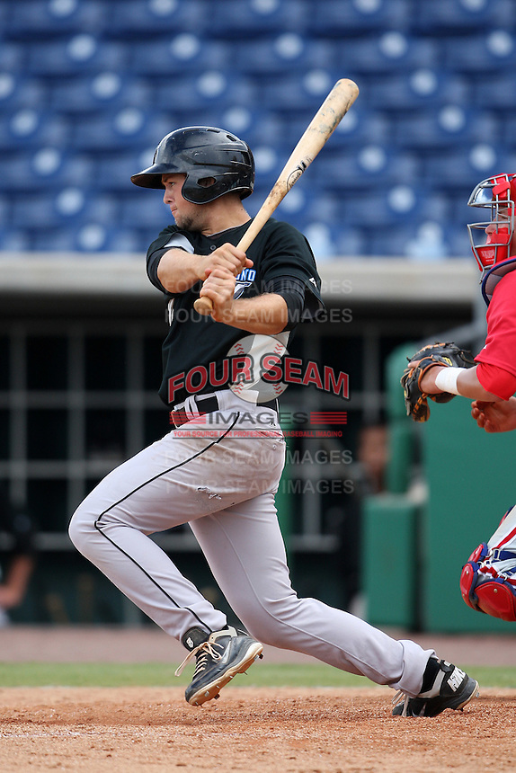 Toronto Blue Jays shortstop Dickie Thon #72 during an Instructional League game against the Philadelphia Phillies at Brighthouse Field on October 7, 2011 in Clearwater, Florida.  (Mike Janes/Four Seam Images)