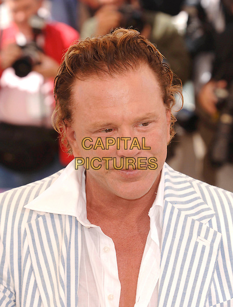 "MICKEY ROURKE.""Sin City"" photocall.58th International Cannes Film Festival, France,.May 18th 2005..Ref: PL.portrait headshot striped jacket  micky.www.capitalpictures.com.sales@capitalpictures.com.©Capital Pictures."