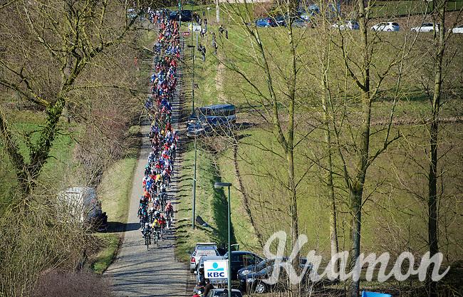 peloton entering the Haaghoek pavé<br /> <br /> Omloop Het Nieuwsblad 2015
