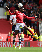 Nottingham Forest's Alfa Semedo heads away from Preston North End's Patrick Bauer<br /> <br /> Photographer David Shipman/CameraSport<br /> <br /> The EFL Sky Bet Championship - Nottingham Forest v Preston North End - Saturday 31st August 2019 - The City Ground - Nottingham<br /> <br /> World Copyright © 2019 CameraSport. All rights reserved. 43 Linden Ave. Countesthorpe. Leicester. England. LE8 5PG - Tel: +44 (0) 116 277 4147 - admin@camerasport.com - www.camerasport.com
