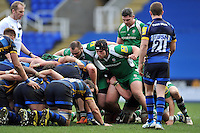 Tom Smallbone of London Irish prepares to scrummage against his opposite number. Aviva Premiership match, between London Irish and Worcester Warriors on February 7, 2016 at the Madejski Stadium in Reading, England. Photo by: Patrick Khachfe / JMP