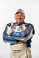 Feb 6, 2019; Pomona, CA, USA; NHRA funny car driver John Force poses for a portrait during NHRA Media Day at the NHRA Museum. Mandatory Credit: Mark J. Rebilas-USA TODAY Sports