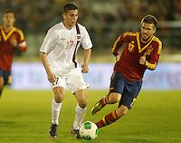 Spain's Ignacio Camacho (r) and Norway's Elabdellaoui during international sub21 match.March 21,2013. (ALTERPHOTOS/Acero) /NortePhoto