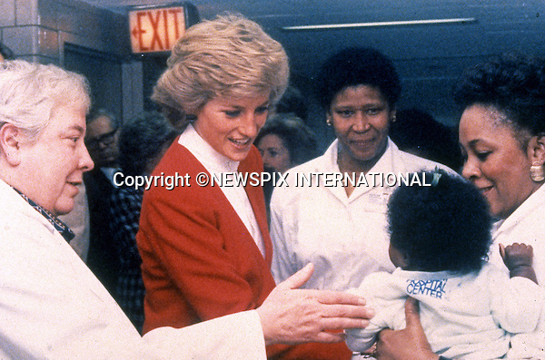 03.02.1989; New York, USA: PRINCESS DIANA<br /> visits the pediatric AIDS unit at Harlem Hospital, Harlem<br /> Diana's whirlwind visit to New York lasted 43 hours.<br /> Mandatory Photo Credit: &copy;Francis Dias/NEWSPIX INTERNATIONAL<br /> <br /> **ALL FEES PAYABLE TO: &quot;NEWSPIX INTERNATIONAL&quot;**<br /> <br /> PHOTO CREDIT MANDATORY!!: NEWSPIX INTERNATIONAL(Failure to credit will incur a surcharge of 100% of reproduction fees)<br /> <br /> IMMEDIATE CONFIRMATION OF USAGE REQUIRED:<br /> Newspix International, 31 Chinnery Hill, Bishop's Stortford, ENGLAND CM23 3PS<br /> Tel:+441279 324672  ; Fax: +441279656877<br /> Mobile:  0777568 1153<br /> e-mail: info@newspixinternational.co.uk