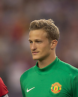 Manchester United FC goalkeeper Anders Lindegaard (34). In a Herbalife World Football Challenge 2011 friendly match, Manchester United FC defeated the New England Revolution, 4-1, at Gillette Stadium on July 13, 2011.