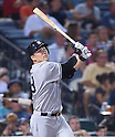 Masahiro Tanaka (Yankees), AUGUST 28, 2015 - MLB : Masahiro Tanaka of the New York Yankees watches his foul ball in his fourth at-bat in the seventh inning during the Major League Baseball Interleague game against the Atlanta Braves at Turner Field in Atlanta, Georgia, United States. (Photo by AFLO)