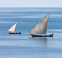 Zanzibar, Tanzania.  Lateen Sail on Dhow and Canoe in Harbor.