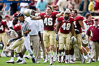 October 31, 2009:    Florida State linebacker Vincent Zann (46) celebrates as time run out on the clock during Atlantic Coast Conference action between the North Carolina State Wolfpack and Florida State Seminoles at Doak Campbell Stadium in Tallahassee, Florida.  Florida State defeated N. C. State 45-42.