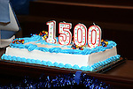 Cast celebration cake for their 1500 performance on Broadway at the Shubert Theater on November 16, 2016 in New York City.