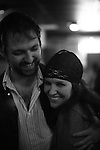 Paul Warner and Kimberly James share a hug and a smile at the Sky-Dog 64 after-party at Grant's Lounge in Macon, Ga. Nov. 21, 2010.