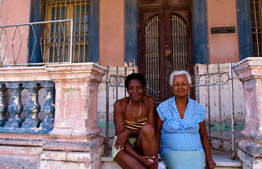 Havana capitol city of Cuba with local people portraits in their neighborhood in the city in Lawton neighborhood