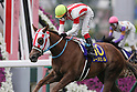 Reine Minoru (Kenichi Ikezoe),<br /> APRIL 9, 2017 - Horse Racing :<br /> Reine Minoru ridden by Kenichi Ikezoe wins the Oka Sho (Japanese 1000 Guineas) at Hanshin Racecourse in Hyogo, Japan. (Photo by Eiichi Yamane/AFLO)