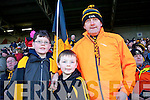 Dr Crokes fans, Shane McAllister, Conor O'Shea Niall Hickey, pictured at the All Ireland semi-final on Saturday in Portlaoise.