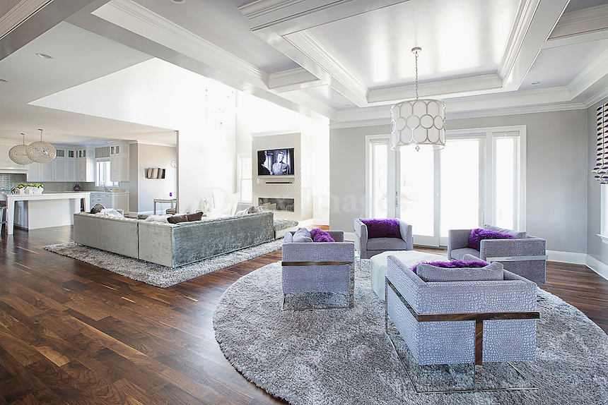 Armchairs with purple pillows