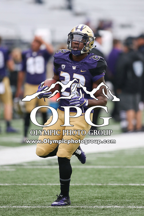 03 September 2016: Washington's Lavon Coleman against Rutgers.  Washington defeated Rutgers 48-13 at the University of Washington in Seattle, WA.