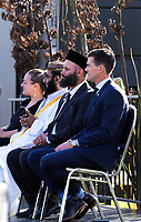 Wellington mayor Justin Lester (right) and International Muslim Association Of New Zealand president Tahir Nawaz (2nd right). National Remembrance Day at Waitangi Park in Wellington, New Zealand on Saturday, 9 March 2019. Photo: Dave Lintott / lintottphoto.co.nz
