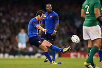 Morgan Parra of France kicks for the posts. Rugby World Cup Pool D match between France and Ireland on October 11, 2015 at the Millennium Stadium in Cardiff, Wales. Photo by: Patrick Khachfe / Onside Images