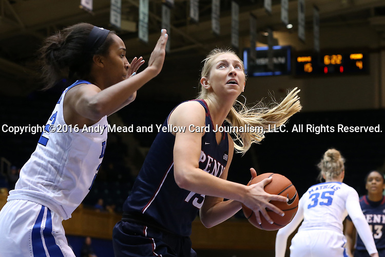 13 November 2016: Penn's Sydney Stipanovich (13) and Duke's Oderah Chidom (22). The Duke University Blue Devils hosted the University of Pennsylvania Quakers at Cameron Indoor Stadium in Durham, North Carolina in a 2016-17 NCAA Division I Women's Basketball game. Duke defeated Penn 68-55.