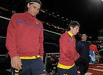 MADRID, Spain (14/02/10).-Liga BBVA de futbol. Partido Atletico de Madrid-FC Barcelona..Zlatan Ibrahimovic y Lionel Messi.©Raul Perez ..