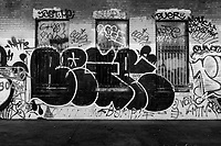Graffiti covers the boarded up ticket windows on the platform of the abandoned railway station on 16th St. in Oakland, California, that was built built in 1912 for the Southern Pacific Railroad and later used by Amtrak.