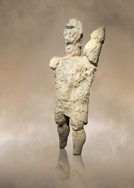 9th century BC Giants of Mont'e Prama  Nuragic stone statue of a boxer, Mont'e Prama archaeological site, Cabras. Museo archeologico nazionale, Cagliari, Italy. (National Archaeological Museum) - Art Background