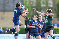 Peter Lydon of London Scottish (15) collects the ball during the Greene King IPA Championship match between London Scottish Football Club and Nottingham Rugby at Richmond Athletic Ground, Richmond, United Kingdom on 15 April 2017. Photo by David Horn.