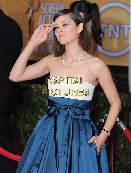 Marion Cotillard (wearing Dior Haute Couture).Arrivals at the 19th Annual Screen Actors Guild Awards at the Shrine Auditorium in Los Angeles, California, USA..27th January 2013.SAG SAGs half length strapless dress blue white silk satin skirt gown bodice   hand in pocket arm.CAP/DVS.©DVS/Capital Pictures.