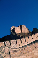 A view of the Great Wall of China and the watchtower at at Badaling Pass. China.