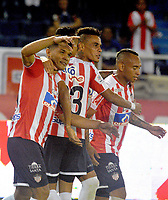 BARRANQUILLA - COLOMBIA - 24 - 03 - 2018: Los jugadores de Atletico Junior celebran el gol anotado a Once Caldas durante partido de la fecha 10 entre Atletico Junior y Once Caldas por la Liga Aguila I - 2018, jugado en el estadio Metropolitano Roberto Melendez de la ciudad de Barranquilla. / The players of Atletico Junior celebrate a scored goal to Once Caldas during a match of the 10th date between Atletico Junior and Once Caldas for the Liga Aguila I - 2018 at the Metropolitano Roberto Melendez Stadium in Barranquilla city, Photo: VizzorImage  / Alfonso Cervantes / Cont. (BEST AVAILABLE QUALITY)