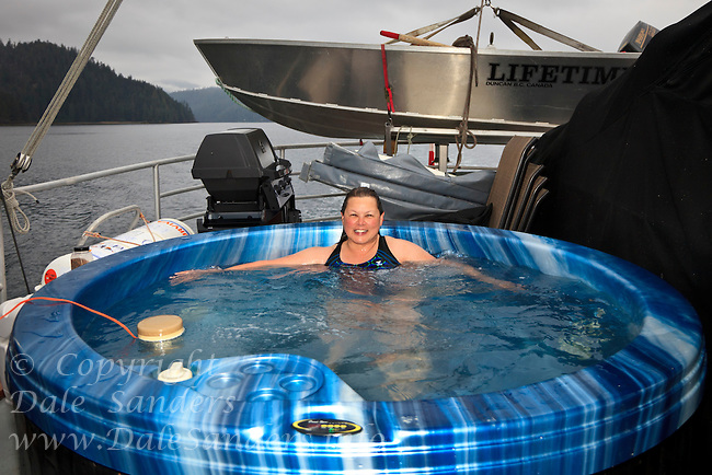 Suelaine Gin lounges in the Hotub on board the Natilus Swell.