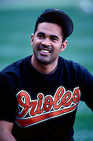Ozzie Guillen of the Baltimore Orioles plays in a baseball game at Edison International Field during the 1998 season in Anaheim, California. (Larry Goren/Four Seam Images)