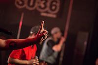 Die Hip-Hop-Gruppe Antilopen Gang aus Duesseldorf, Koeln und Berlin spielte am Samstag den 14. Maerz 2015 im ausverkauften Berliner Club SO36.<br /> Die Band besteht aus den Rappern Koljah Kolerikah, Panik Panzer und Danger Dan und steht beim Toten Hosen-Label JKP unter Vertrag.<br /> 14.3.2015, Berlin<br /> Copyright: Christian-Ditsch.de<br /> [Inhaltsveraendernde Manipulation des Fotos nur nach ausdruecklicher Genehmigung des Fotografen. Vereinbarungen ueber Abtretung von Persoenlichkeitsrechten/Model Release der abgebildeten Person/Personen liegen nicht vor. NO MODEL RELEASE! Nur fuer Redaktionelle Zwecke. Don't publish without copyright Christian-Ditsch.de, Veroeffentlichung nur mit Fotografennennung, sowie gegen Honorar, MwSt. und Beleg. Konto: I N G - D i B a, IBAN DE58500105175400192269, BIC INGDDEFFXXX, Kontakt: post@christian-ditsch.de<br /> Bei der Bearbeitung der Dateiinformationen darf die Urheberkennzeichnung in den EXIF- und  IPTC-Daten nicht entfernt werden, diese sind in digitalen Medien nach &sect;95c UrhG rechtlich geschuetzt. Der Urhebervermerk wird gemaess &sect;13 UrhG verlangt.]
