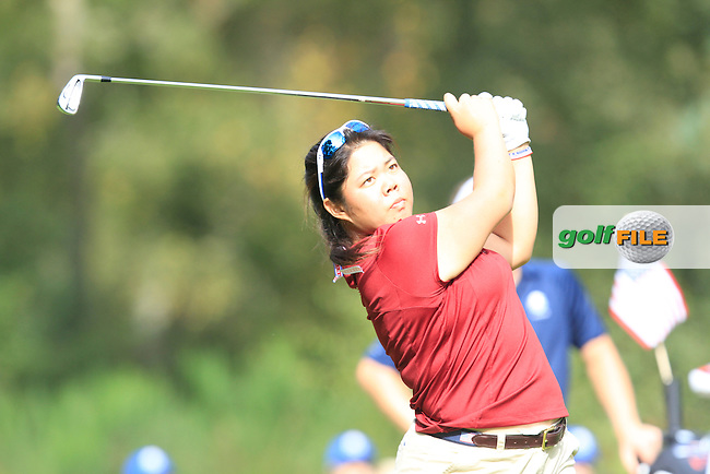 Bethany Wu (USA) during the Mixed Fourballs of the  2014 JUNIOR RYDER CUP at the Blairgowrie Golf Club, Perthshire, Scotland. Picture:  Thos Caffrey / www.golffile.ie