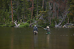 fly fishermen, Spruce Lake, Rocky Mountain National Park, Colorado, USA