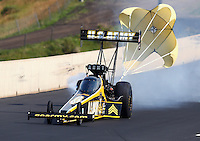Jul. 19, 2014; Morrison, CO, USA; NHRA top fuel driver Tony Schumacher during qualifying for the Mile High Nationals at Bandimere Speedway. Mandatory Credit: Mark J. Rebilas-