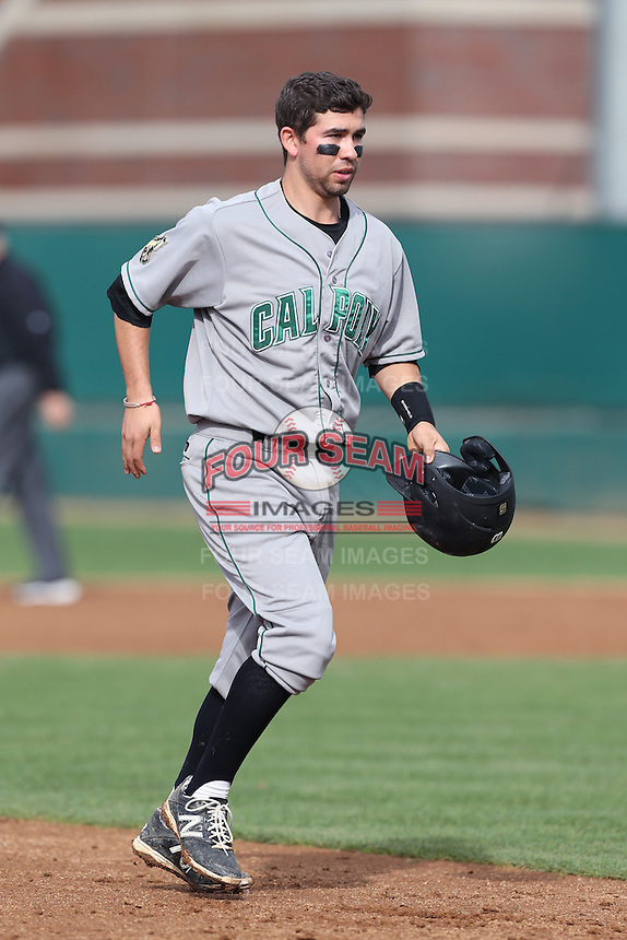 Peter Van Gansen #5 of the Cal Poly Mustangs runs the bases during a game against the USC Trojans at Dedeaux Field on March 2, 2014 in Los Angeles, California. Cal Poly defeated USC, 5-1. (Larry Goren/Four Seam Images)