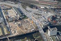 Fachmarktcenter: EUROPA, DEUTSCHLAND, HAMBURG, (EUROPE, GERMANY), 10.03.2007: Bergedorf, Strasse, Weidenbaumsweg, Stuhlrohrstrasse,  Neubau, Baustelle, Post, Busbahnhof, ZOB, Moschee, Luftbild, Luftansicht, Air..c o p y r i g h t : A U F W I N D - L U F T B I L D E R . de.G e r t r u d - B a e u m e r - S t i e g 1 0 2, .2 1 0 3 5 H a m b u r g , G e r m a n y.P h o n e + 4 9 (0) 1 7 1 - 6 8 6 6 0 6 9 .E m a i l H w e i 1 @ a o l . c o m.w w w . a u f w i n d - l u f t b i l d e r . d e.K o n t o : P o s t b a n k H a m b u r g .B l z : 2 0 0 1 0 0 2 0 .K o n t o : 5 8 3 6 5 7 2 0 9.C o p y r i g h t n u r f u e r j o u r n a l i s t i s c h Z w e c k e, keine P e r s o e n l i c h ke i t s r e c h t e v o r h a n d e n, V e r o e f f e n t l i c h u n g  n u r  m i t  H o n o r a r  n a c h M F M, N a m e n s n e n n u n g  u n d B e l e g e x e m p l a r !.