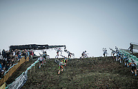 the elite men attacking the infamous 'wall' on the course <br /> <br /> 2016 CX Superprestige Spa-Francorchamps (BEL)
