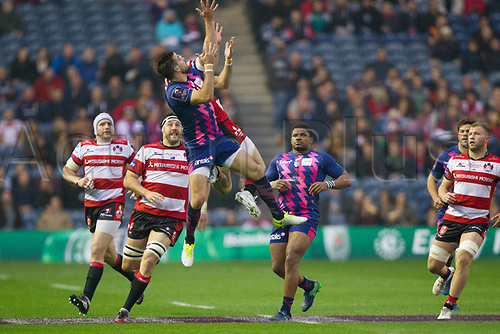 May 12th 2017, BT Murrayfield, Edinburgh, Scotland; European Rugby Challenge Cup Final; Gloucester versus Stade Francais;   Hugo Bonneval (Stade Français) and Charlie Sharples (Gloucester) goes arial for the high ball