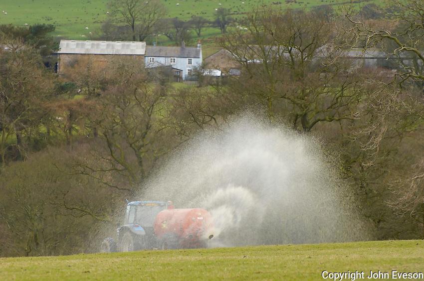 Spreading slurry, Whitewell, Clitheroe, Lancashire.