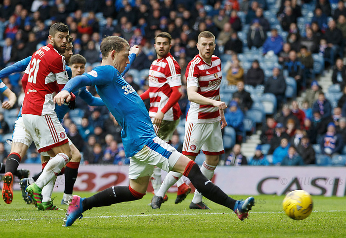 Joe Garner scores goal no 2 and the first of his hat-trick
