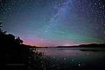 subtle aurora, airglow, milky way, reflecting, off water, in Michigan's Upper Peninsula, Lake Superior