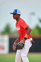 Willy Fana (10) during the Dominican Prospect League Elite Underclass International Series, powered by Baseball Factory, on July 21, 2018 at Schaumburg Boomers Stadium in Schaumburg, Illinois.  (Mike Janes/Four Seam Images)