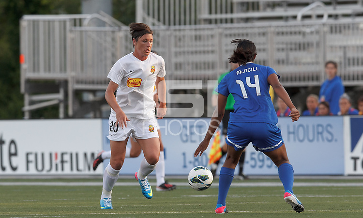 Western New York Flash forward Abby Wambach (20) brings the ball forward.  In a National Women's Soccer League Elite (NWSL) match, the Boston Breakers (blue) tied Western New York Flash (white), 2-2, at Dilboy Stadium on June 5, 2013.