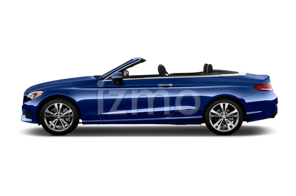 Car Driver side profile view of a 2017 Mercedes Benz C-Class C-300 2 Door Convertible Side View
