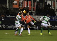 Alan Sheehan of Luton Town clears the ball from danger during the Sky Bet League 2 match between Luton Town and Yeovil Town at Kenilworth Road, Luton, England on 2 February 2016. Photo by Liam Smith.