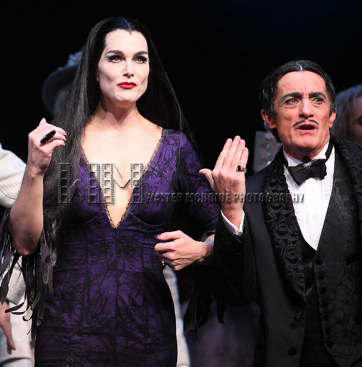 Brooke Shields as Morticia Addams & Roger Rees .at the Curtain Call for her debut in 'The Addams Family' at the Lunt-Fontanne Theatre  in New York City.