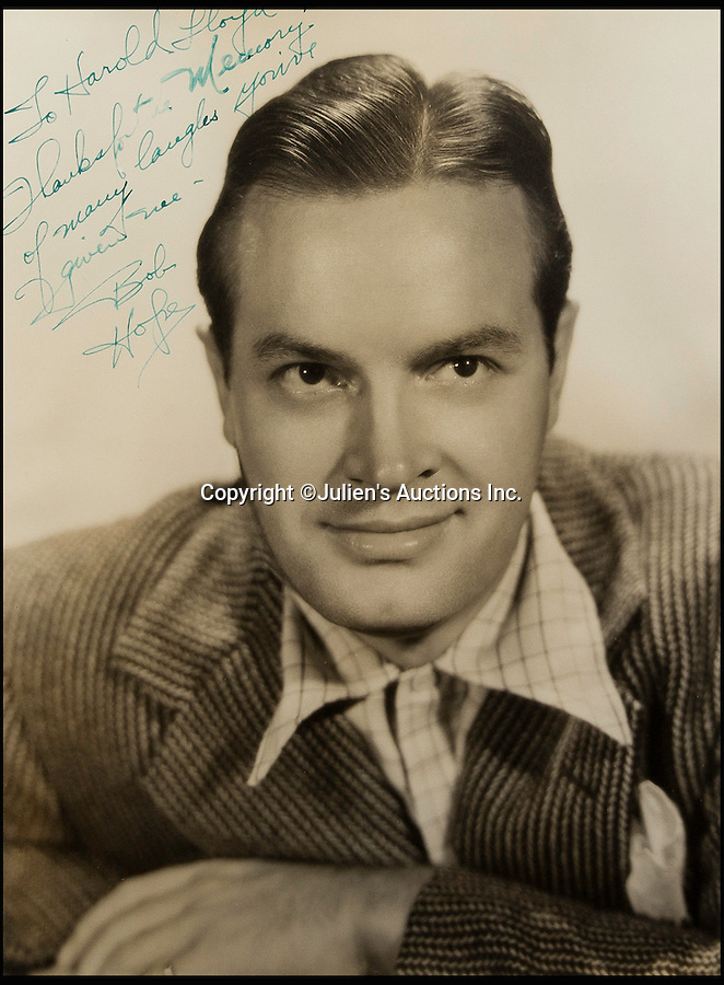 """BNPS.co.uk (01202 558833)<br /> Pic: JuliensAuctions/BNPS<br /> <br /> American comedian Bob Hope, signed """"To Harold Lloyd, thanks for the memory of many laughs you've given me, Bob Hope"""".<br /> <br /> The Rogues Gallery - Unique Who's who from the halcyon days of Hollywood, collected by one of their own, comedian Harold Lloyd.<br /> <br /> The silent movie actor asked his silver screen chums to send him their best loved publicity shots one Xmas, so he could create a 'Rogues Gallery' at his Hollywood mansion.<br /> <br /> The unique collection reveals tinsel town as it preferred to see itself in its most glamourous era between the wars."""