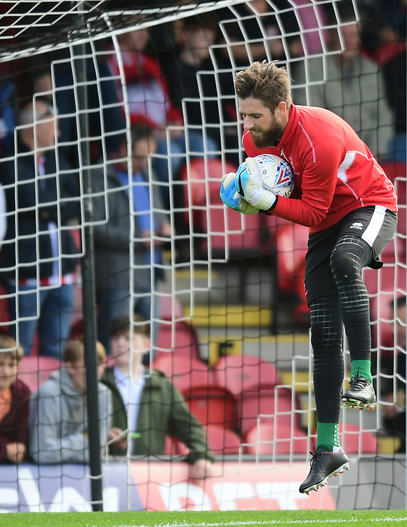 Lincoln City's Josh Vickers during the pre-match warm-up<br /> <br /> Photographer Chris Vaughan/CameraSport<br /> <br /> The EFL Sky Bet League Two - Grimsby Town v Lincoln City - Saturday 30th September 2017 - Blundell Park - Cleethorpes<br /> <br /> World Copyright &copy; 2017 CameraSport. All rights reserved. 43 Linden Ave. Countesthorpe. Leicester. England. LE8 5PG - Tel: +44 (0) 116 277 4147 - admin@camerasport.com - www.camerasport.com